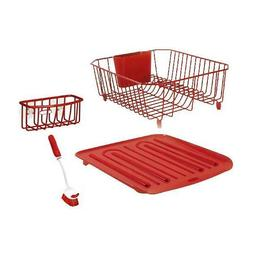 Rubbermaid Antimicrobial Sink Dish Rack Drainer Set, Red, 4-