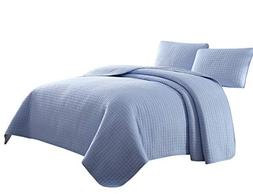 Cozy Beddings Attitude 3pc Coverlet Set, Light Blue Twin/Twi