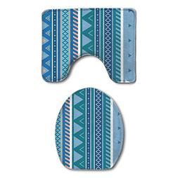 SWEET TANG Aztec Stripe Pattern Blue Bath Mat Bathroom Carpe