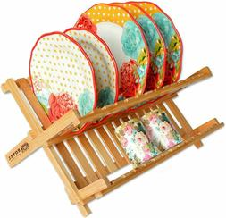 Bamboo 2 Tier Dish Drying Rack Collapsible Dish Drainer, Dis