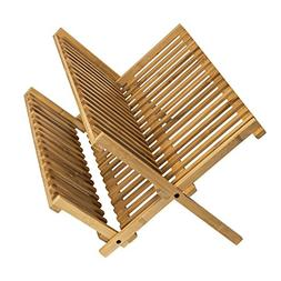 100% Natural Bamboo 2-tier Dish Drying Rack - Collapsible Co