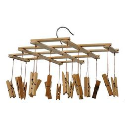 JIAEN Bamboo Clothesline Drying Rack Clip with 16/20 Clips H