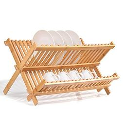 Natural Bamboo Dish Drying Rack, SZUAH Collapsible Dish Plat