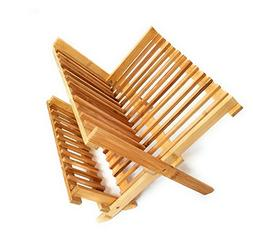Natural Bamboo Dish Drying Rack Collapsible Compact Bamboo D