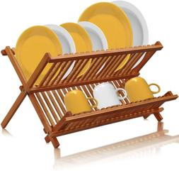 Bamboo Dish Drying Rack Foldable Collapsible Wood Kitchen Fo