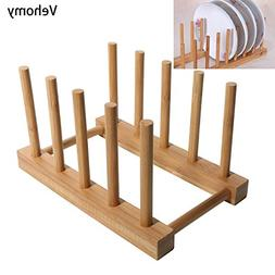 Bamboo Dish Drying Rack, Vehomy Natural Bamboo Dish Rack Fla