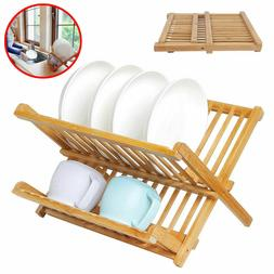 Bamboo Dish Drying Rack Wood Sink Folding Strainer Kitchen