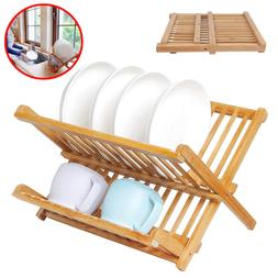 Bamboo Dish Drying Rack Wood Sink With Utensil Holder Foldin