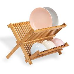 Frond Bamboo Dish Rack Collapsible, Premium Folding Dish Dry