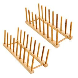 Bamboo Dish Rack or Lid Organizer, for 6 dinner plates OR 6