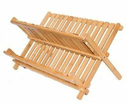 Collapsible Bamboo Drying Dish Rack | 2 Tier Level Folding D