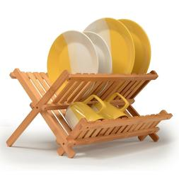 Dish Rack Collapsible Dish Drying Rack Bamboo Dish Drying Ra