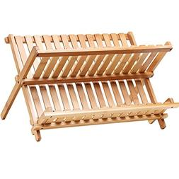 Bamboo Folding Dish Rack Drainer Bowl Plate Cup Drying Rack