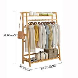 Bamboo Garment Coat Clothes Hanging Heavy Duty Rack with top