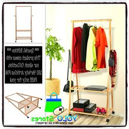 Shoe Clothes Bamboo Laundry Rack Rolling Garment 2 Tier Stan
