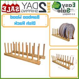 Ess Bamboo Wood Drying Rack Drainer Storage Organizer Plates