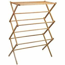 Bamboo Wood Laundry Rack Portable Clothes Drying Rack Stand