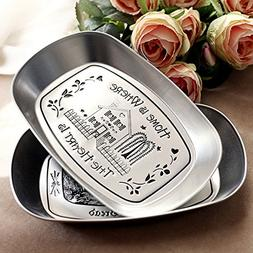 Eaglood 1Piece Bandeja Silver Vintage Iron Plate Storage Tra