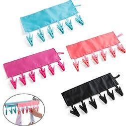 Erlvery DaMain Bathroom Racks Cloth Hanger Clothespin Travel