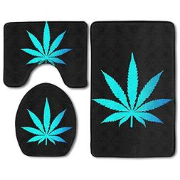 bathroom rug set cannabis weed