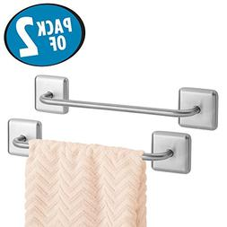 mDesign Bathroom Strong Adhesive Metal Towel Bar - Storage O
