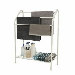 Bathroom Towel Drying Rack with 3 Tier Bar Storage Shelf Hol