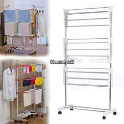 Foldable, Rolling, Stainless Steel Rods & Compact Storage La