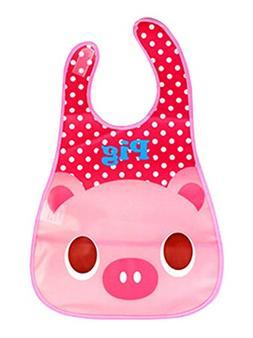 Baby Bibs Cartoon Waterproof Soft Adjustable Neckban Pink Pi