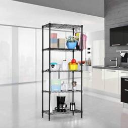 Black 5-Tier Layer Shelf Adjustable Wire Metal Shelving Rack