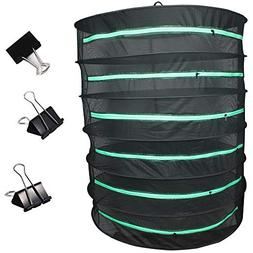 Casolly Black Herbal Drying Rack with Green Zipper,Clips for