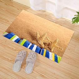 JANNINSE Blue Yellow Towel Beach Yellow Starfish Tropical Va