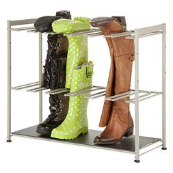 Honey-Can-Do 6-Pair Boot Rack in Silver/Black