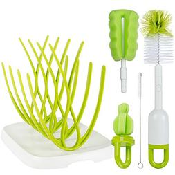 Baby Bottle Brush with Dryer Rack & Nipple Brush |Baby Bottl