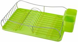 Chrome Dish Drying Rack With Plastic Tray, Holder,Red/Green/