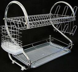 Chrome Kitchen Dish Cup Drying Rack Drainer Dryer Tray Cutle