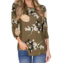 SMALLE ◕‿◕ Clearance,Women's Casual Printed Floral Thr