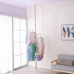 Clothes Drying Rack Indoor Telescopic Corner Shelf Hanger wt