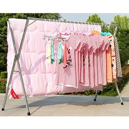 AIDELAI Coat Rack Drying Racks Folding Floor Indoor and Outd