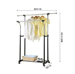 AIDELAI Coat Rack Floor Liftable Drying Rack Double Rod Type