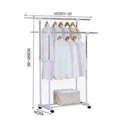 AIDELAI Coat Rack Floor Liftable Drying Rack Double Rod Type