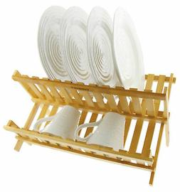 collapsible bamboo dish drying rack w lower