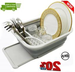 Collapsible Dish Drainer with Drainer Board - Foldable Dryin