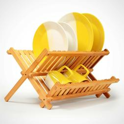 Collapsible Dish Drying Rack Bamboo Foldable Compact Wood Fo