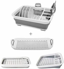 Collapsible Dish Drying Rack with Drainer Board Set Portable