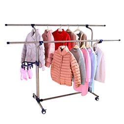 Baoyouni Collapsible Double-Bar Laundry Drying Rack with Whe