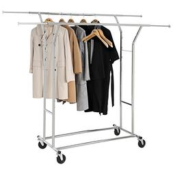 Cr Collapsible Heavy Duty Rolling Clothing Rack Double Rails