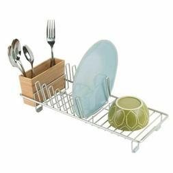 mDesign Compact Countertop, Sink Dish Drying Rack, Bamboo Ca