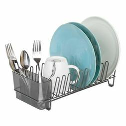 mDesign Compact Countertop, Sink Dish Drying Rack Caddy - Gr