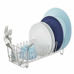 mDesign Compact Countertop, Sink Dish Drying Rack Caddy - Li
