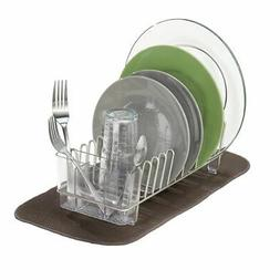 mDesign Compact Dish Drying Rack and Silicone Mat, Set of 2